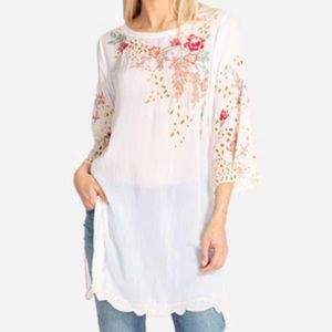 NWT JOHNNY WAS belina white embroidered tunic xs